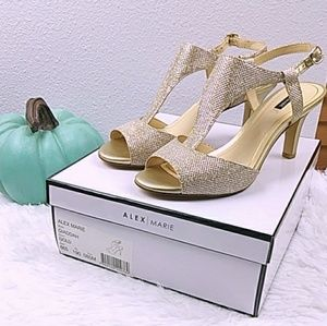 NIB! Alex Marie Heel 'Giaddah' Gold Holiday SZ 8.5